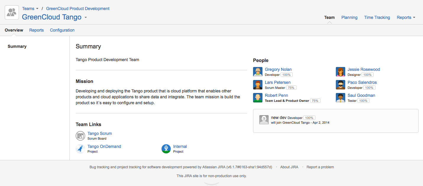 Tempo Planner project management solution for Atlassian's JIRA team overview