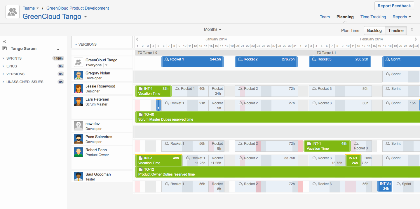 Tempo Planner project management solution for Atlassian's JIRA planner timeline