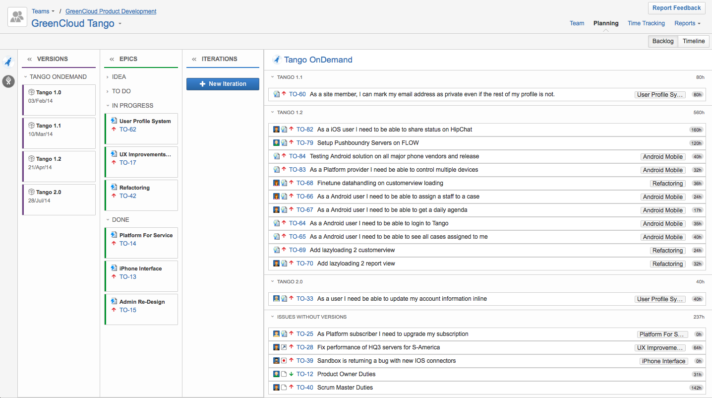 Tempo Planner project management solution for Atlassian's JIRA Agile epics in Team Backlog