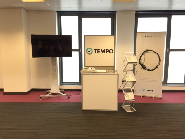 Picture of the Tempo booth at JAX London 2014 the morning of the first day of the conference.