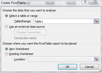Import from web create pivot