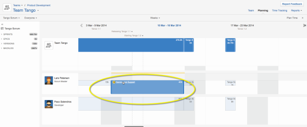 Get the plan item sidebar by clicking the name of the plan item in the Tempo Planner Timeline