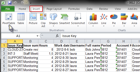 pivoting tempo and jira reports using excel