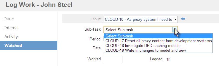 Tempo user log work watched select subtask
