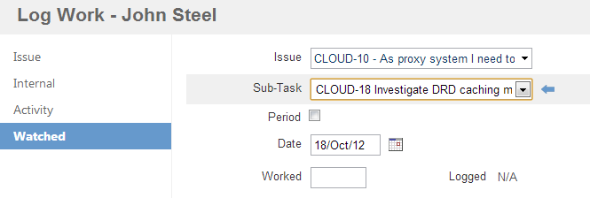 Tempo user log work watched subtask selected