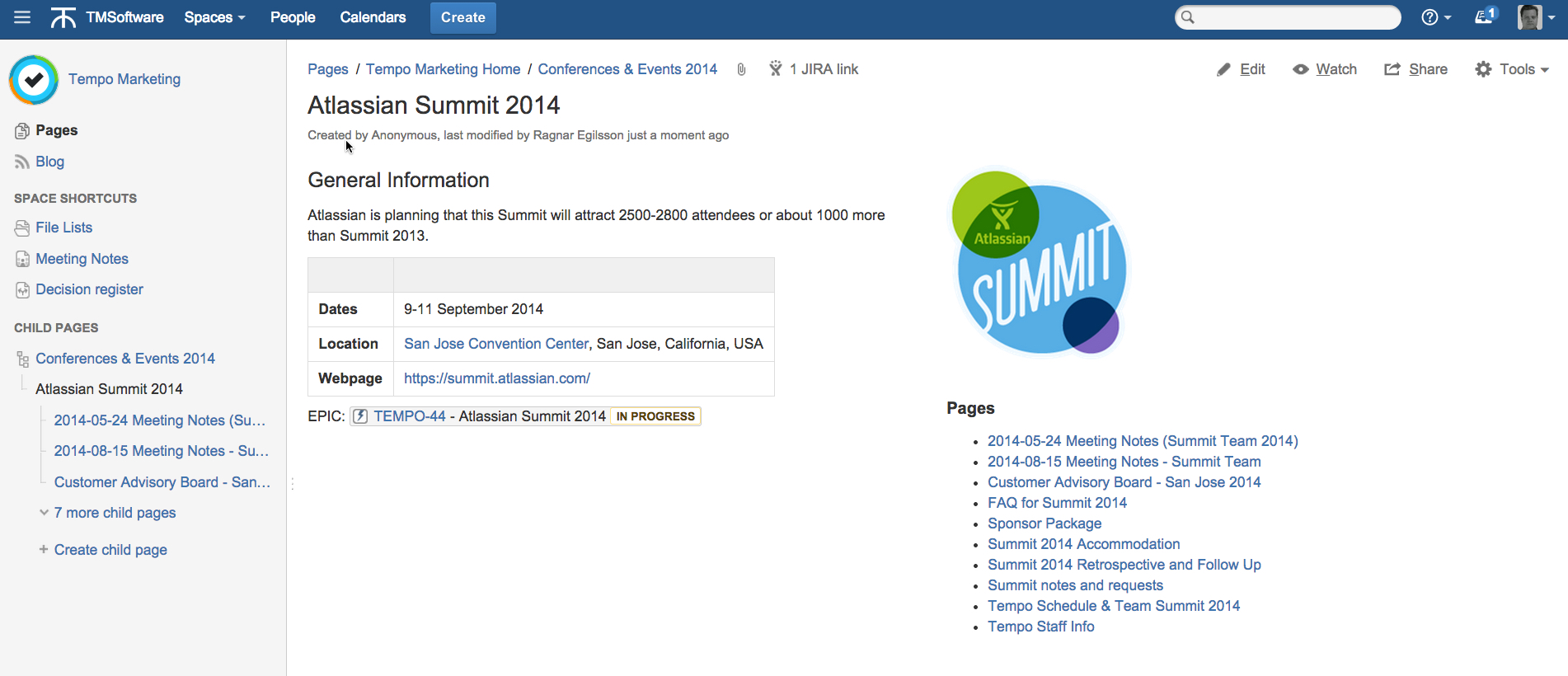 screenshot of Tempo Marketing conference page in Confluence