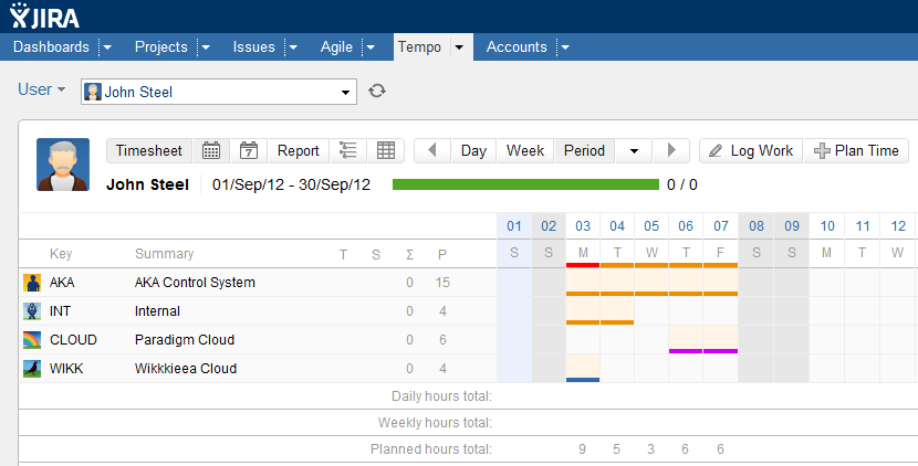 New Tempo Admin Planning Color Timesheet