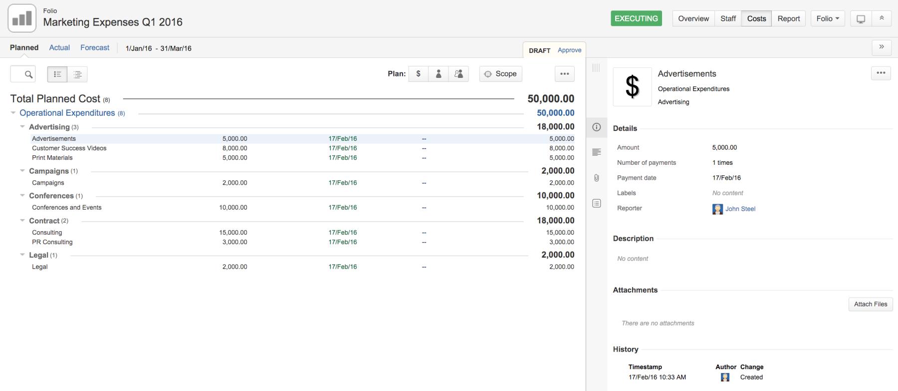 Tempo Folio | Planned Costs Marketing