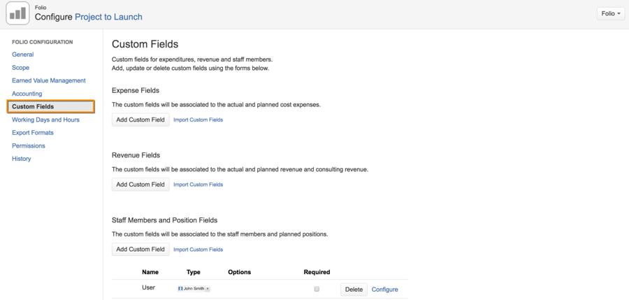Tempo Folio | add custom fields screenshot