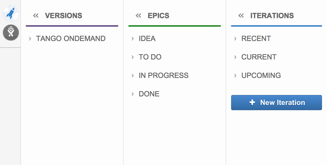 The Team Backlog Sidebar with Columns showing Iterations, Versions, Epics, Projects