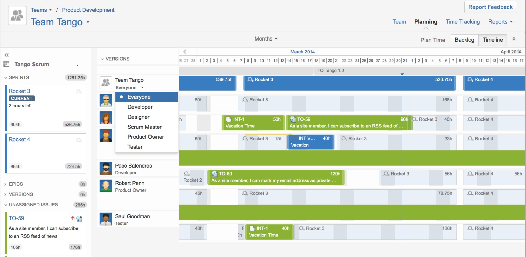 coordinated high-level, scalable release planning for product development in Tempo Planner 2.0 for Atlassian's JIRA agile project management and planning solution. Visualize, manage, deliver with Tempo Planner.