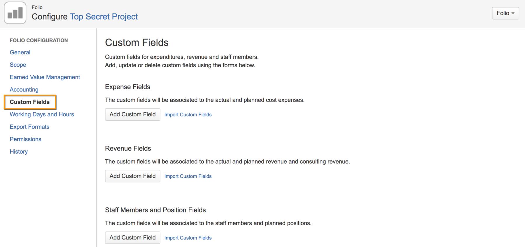 custom fields configuration screenshot