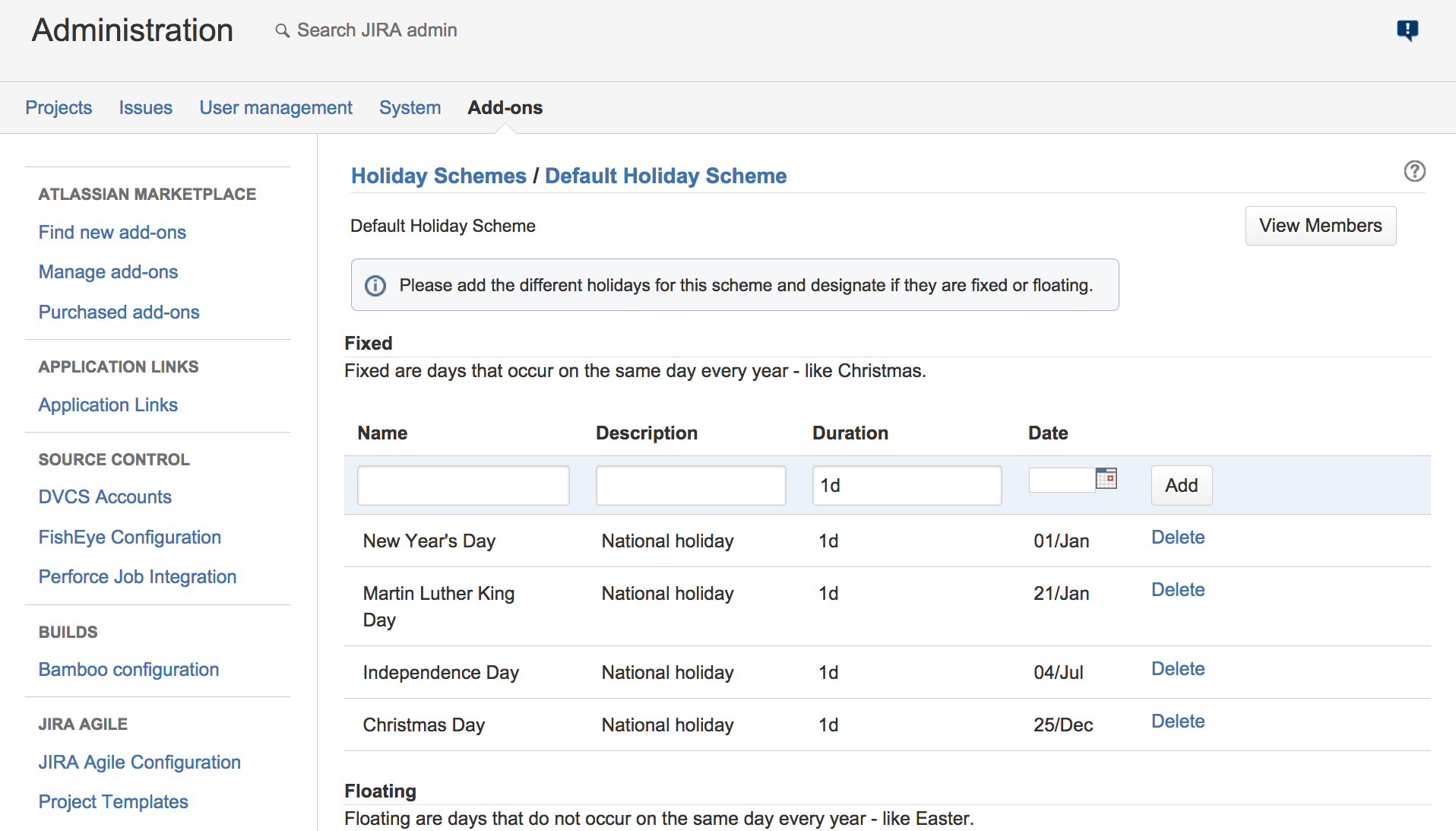 screenshot of Tempo Planner holiday schemes