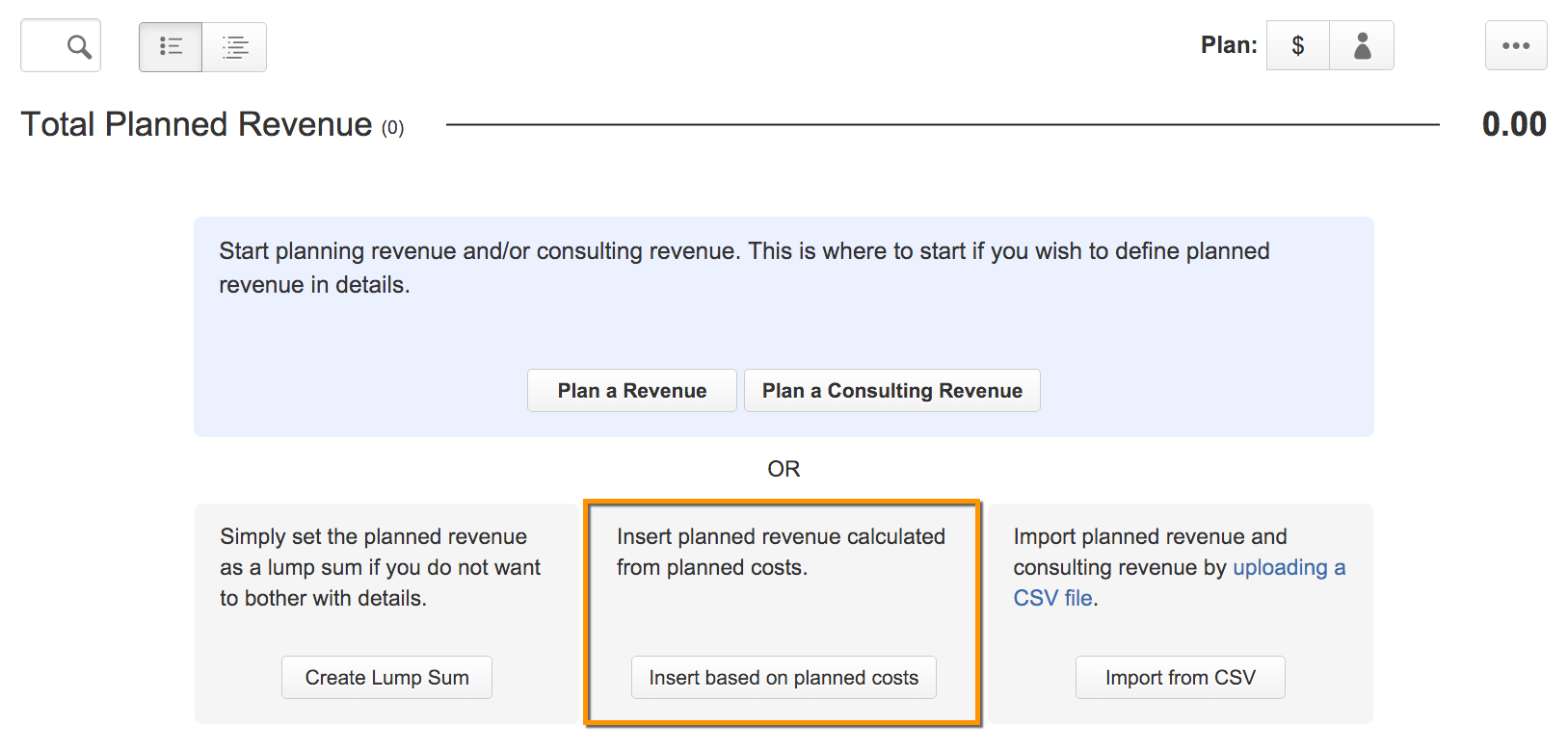 Tempo Folio | insert planned revenue based on planned costs