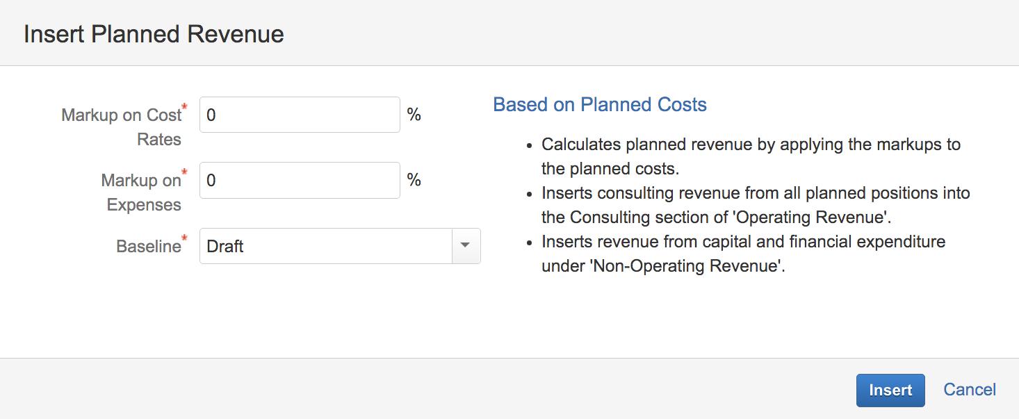 Tempo Folio | insert planned revenue window