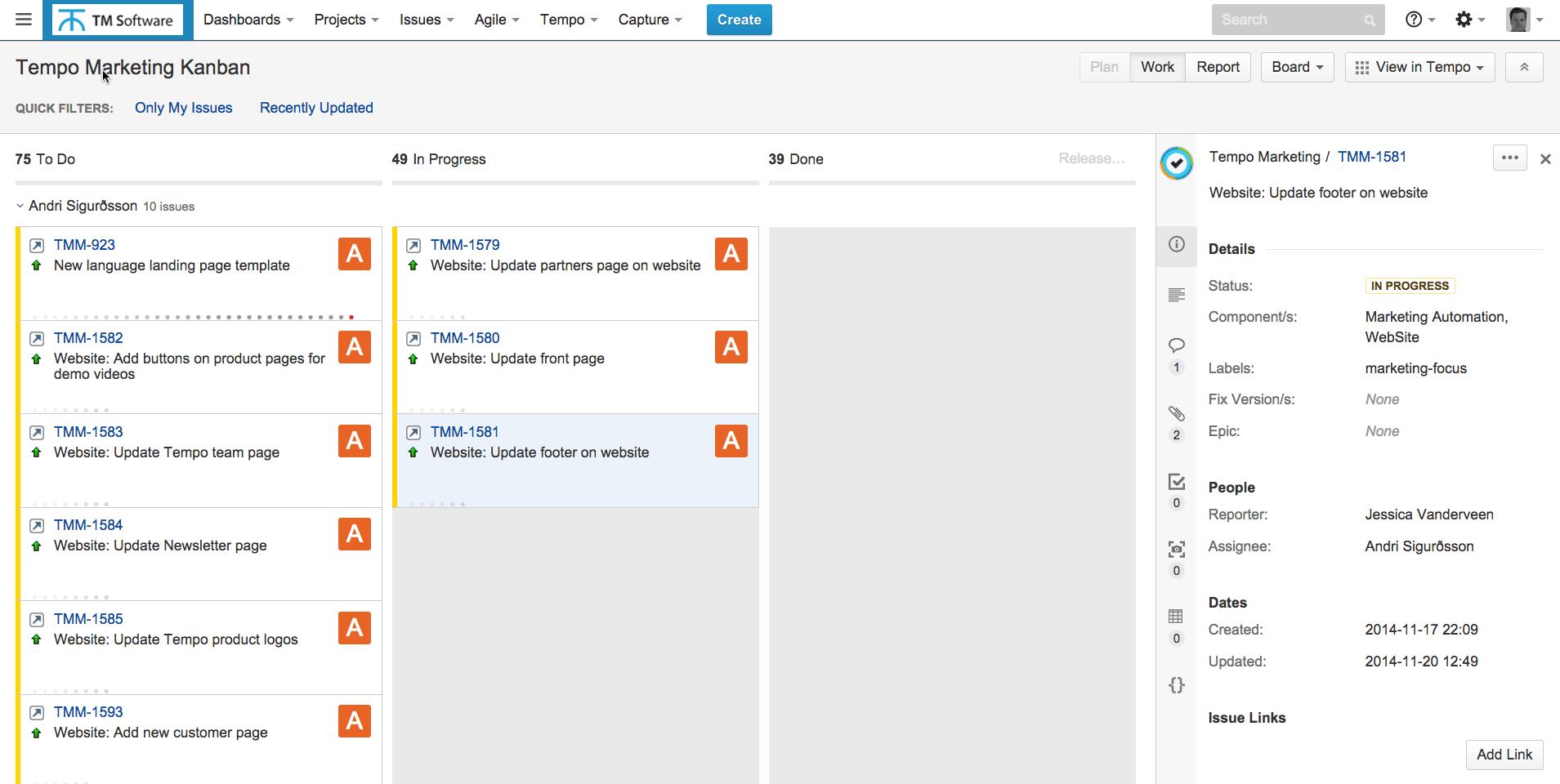 screenshot of Tempo marketing kanban