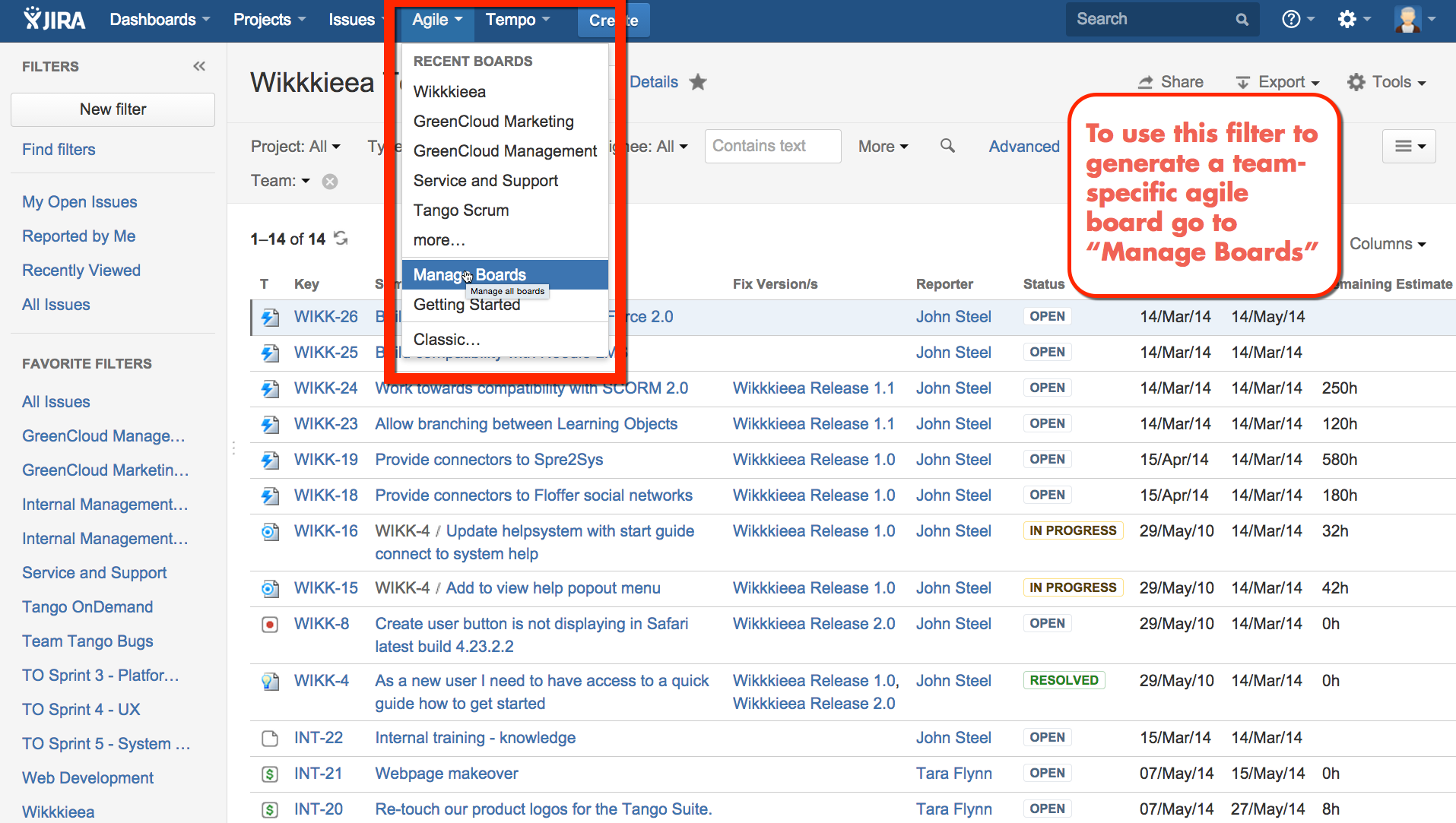 Access Manage boards in Agile