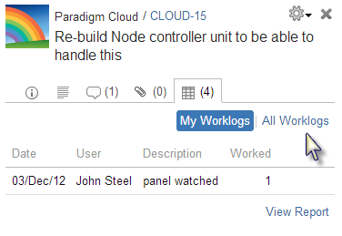 Worklogs tab for user who has access to view all worklogs in Tempo and GreenHopper