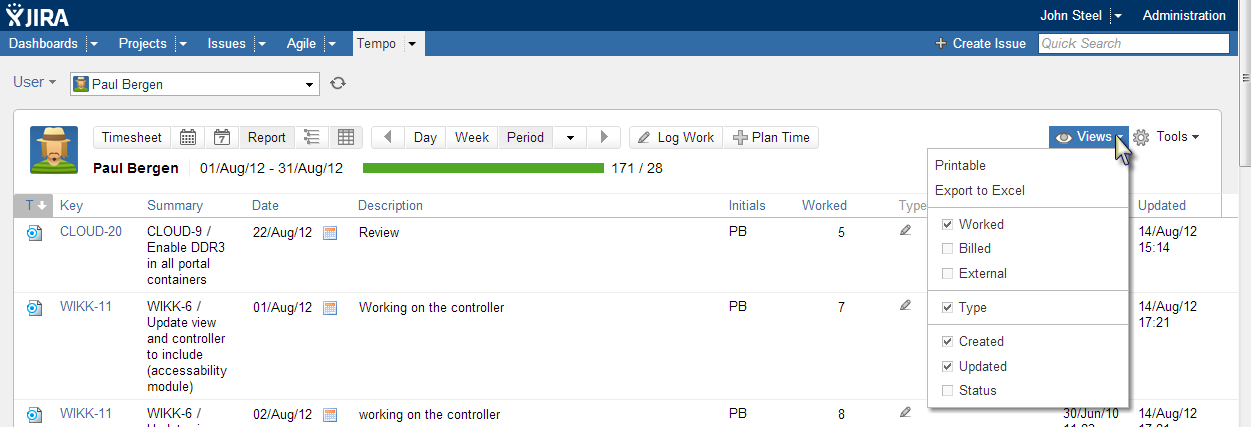 Tempo Improved Report Table View