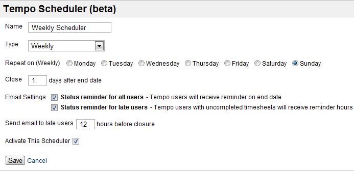 Tempo scheduler