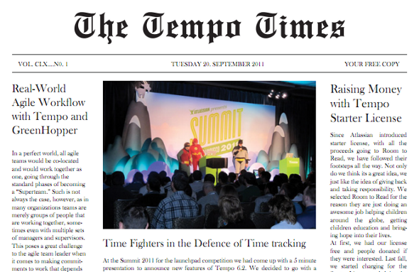The Tempo Times No. 1 - The first time-tracking newspaper in the world?