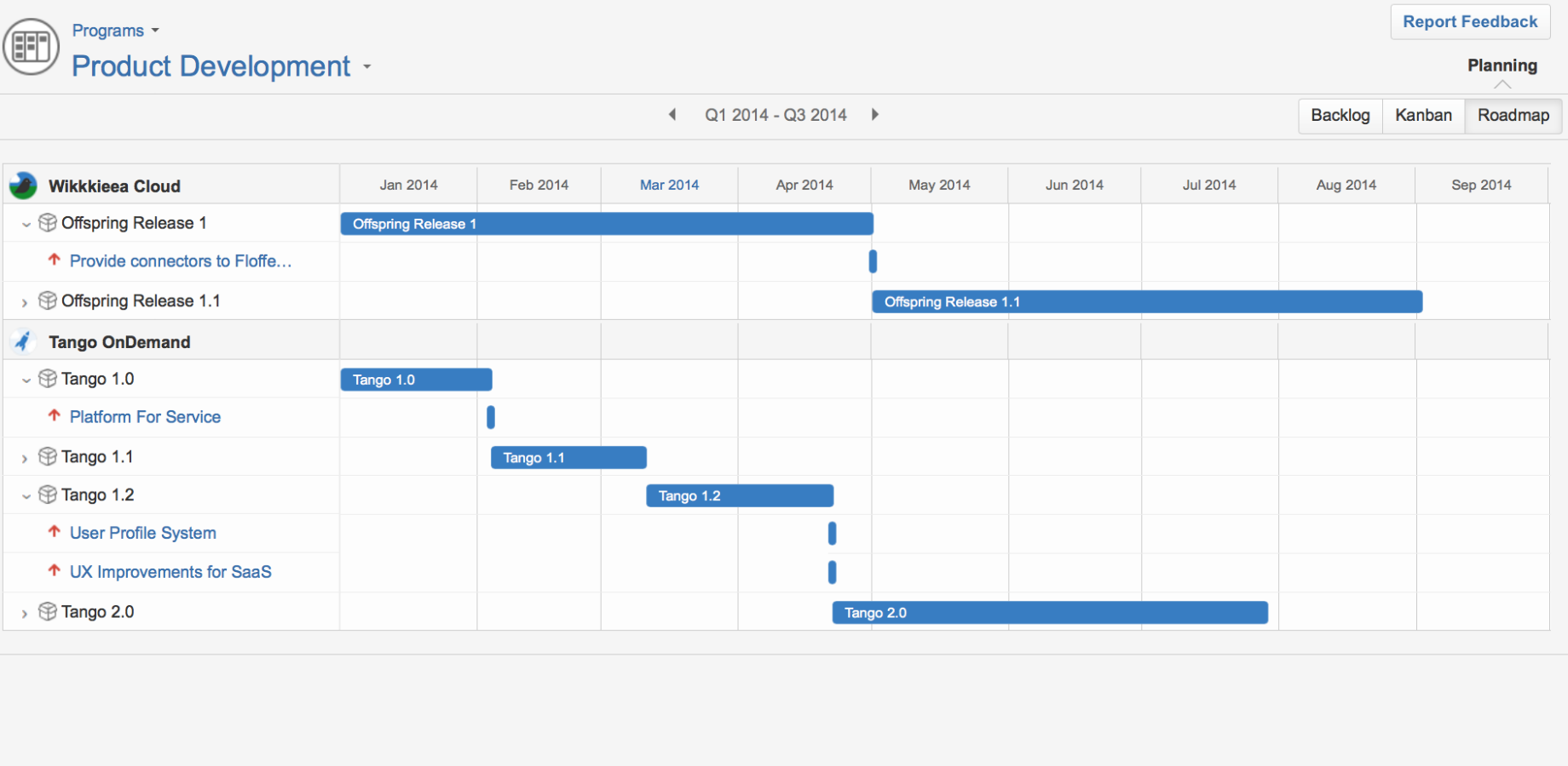 visualize your program management with the program roadmap in Tempo Planner for Atlassian's JIRA